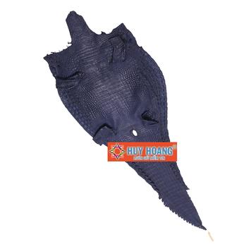 Da thuộc da cá sấu mổ lưng màu xanh đậm HH1229