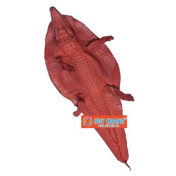Da thuộc da cá sấu nguyên con có đầu màu nâu đỏ HH1252