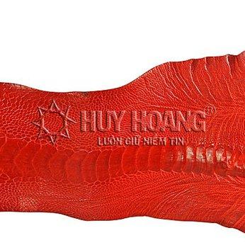 Da thuộc da đà điểu mổ chân đà điểu màu đỏ tươi HH1410