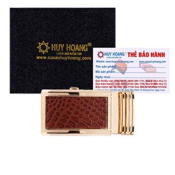 Đầu khóa Huy Hoàng mặt da bò màu nâu đầu vàng HH9120