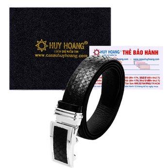 Dây nịt nam da trăn Huy Hoàng màu đen HH4302