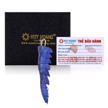 Móc khóa da cá sấu Huy Hoàng gai đuôi màu xanh dương HH8241