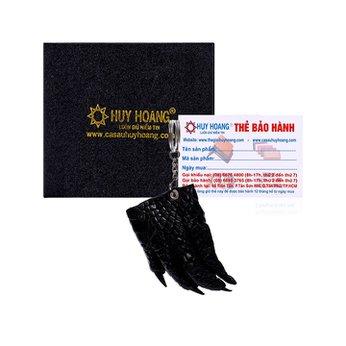 Móc khóa da cá sấu Huy Hoàng màu đen HH8210