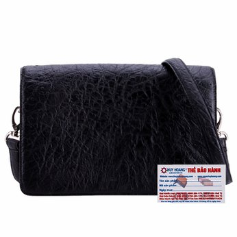 Túi đeo chéo da đà điểu Huy Hoàng cỡ nhỏ màu đen HH6407