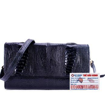 Túi đeo da đà điểu Huy Hoàng víp màu đen HH6410