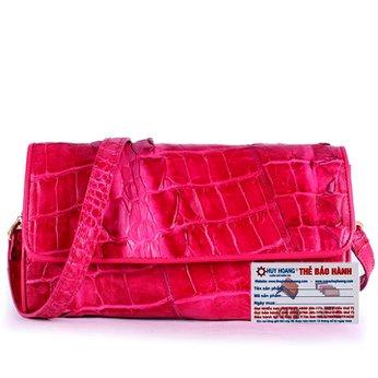 Túi đeo nữ da cá sấu Huy Hoàng 2 gai màu hồng HH6271