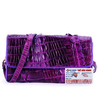 Túi đeo nữ da cá sấu Huy Hoàng 2 gai màu tím HH6272