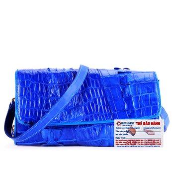 Túi đeo nữ da cá sấu Huy Hoàng 2 gai màu xanh dương HH6274