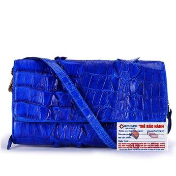Túi đeo nữ da cá sấu Huy Hoàng 2 gai màu xanh dương HH6277