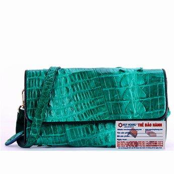 Túi đeo nữ da cá sấu Huy Hoàng 2 gai màu xanh lá HH6275
