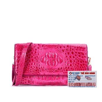 Túi đeo nữ da cá sấu Huy Hoàng màu hồng HH6260