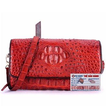 Túi đeo nữ da cá sấu Huy Hoàng màu nâu đỏ HH6256