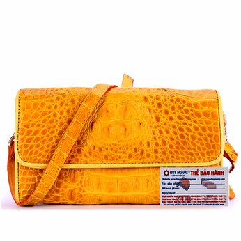 Túi đeo nữ da cá sấu Huy Hoàng màu vàng nghệ HH6262