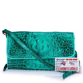 Túi đeo nữ da cá sấu Huy Hoàng màu xanh lá HH6264
