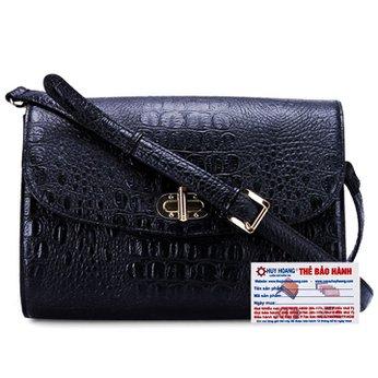 Túi xách đeo chéo Huy Hoàng vân cá sấu màu đen HH6176