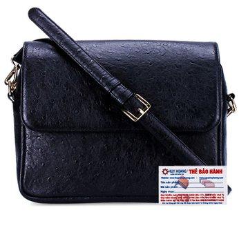 Túi xách đeo chéo Huy Hoàng vân đà điểu màu đen HH6177