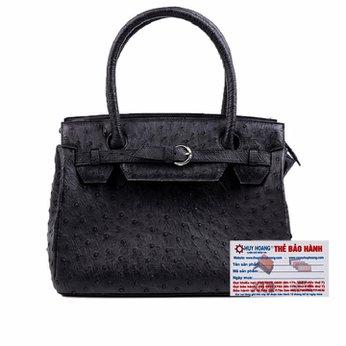 Túi xách Huy Hoàng da đà điểu màu đen HH6401