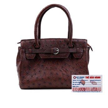 Túi xách Huy Hoàng da đà điểu màu nâu đất HH6404