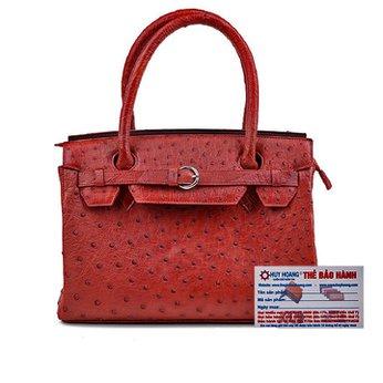 Túi xách Huy Hoàng da đà điểu màu nâu đỏ HH6402