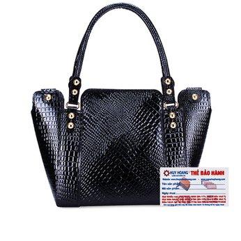 Túi xách Huy Hoàng vân cá sấu màu đen HH6180