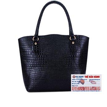 Túi xách Huy Hoàng vân cá sấu quai đeo màu đen HH6178