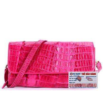 Túi xách nữ da cá sấu đeo chéo 2 gai màu hồng HH6250