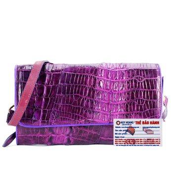 Túi xách nữ da cá sấu đeo chéo 2 gai màu tím HH6251