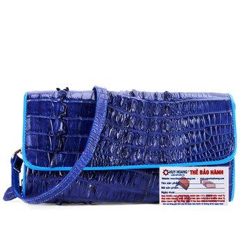 Túi xách nữ da cá sấu đeo chéo 2 gai màu xanh đậm HH6253