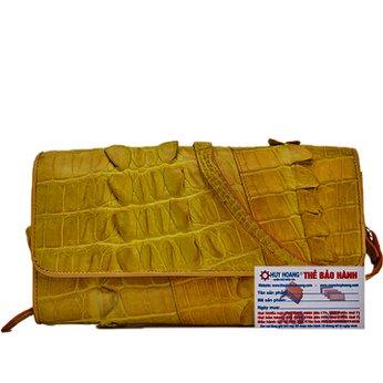 Túi xách nữ da cá sấu Huy Hoàng đeo chéo 2 gai màu vàng nghệ HH6279