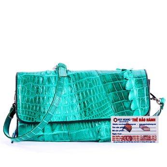Túi xách nữ da cá sấu Huy Hoàng đeo chéo 2 gai màu xanh lá HH6252