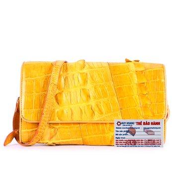 Túi xách nữ da cá sấu Huy Hoàng đeo chéo màu vàng HH6278