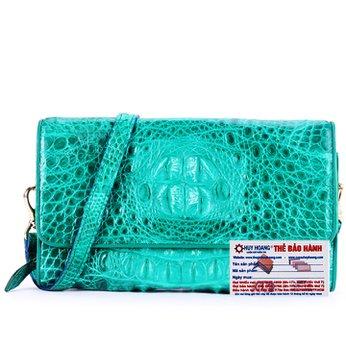 Túi xách nữ da cá sấu Huy Hoàng đeo chéo màu xanh lá HH6254