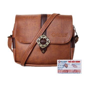 Túi xách phối viền Huy Hoàng 1 khóa màu bò đậm HH6158