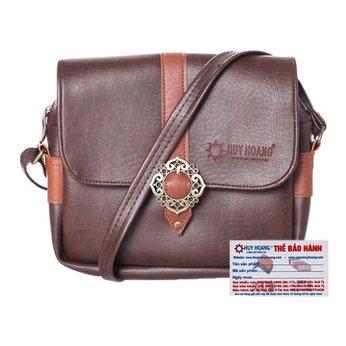 Túi xách phối viền Huy Hoàng 1 khóa màu nâu HH6160