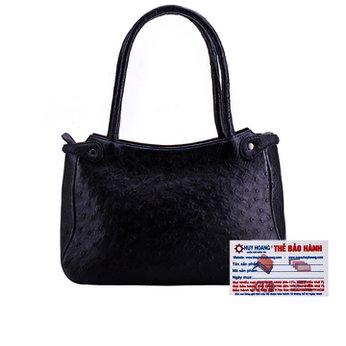 Túi xách tay da đà điểu Huy Hoàng màu đen HH6408