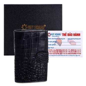 Ví đựng Passport da cá sấu Huy Hoàng màu đen HH9201