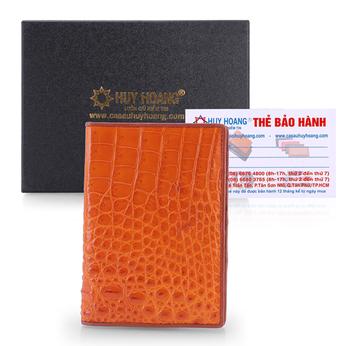 Ví đựng Passport da cá sấu Huy Hoàng màu vàng HH9203