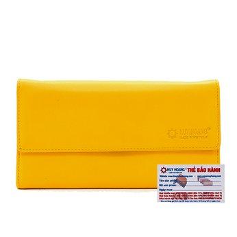 Ví nữ da bò cao cấp Huy Hoàng 3 gấp màu vàng HH3165