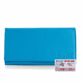 Ví nữ da bò cao cấp Huy Hoàng 3 gấp màu xanh biển HH3163