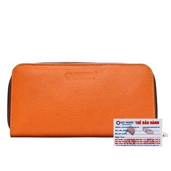 Ví nữ da bò Huy Hoàng cao cấp 1 khóa màu cam HH3145
