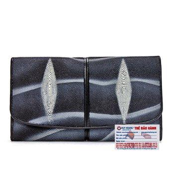 Ví nữ da cá đuối Huy Hoàng màu  2 sọc trắng đen HH3502