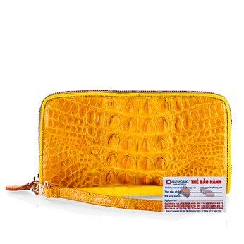 Ví nữ da cá sấu Huy Hoàng 1 khóa gai màu vàng nghệ HH3707