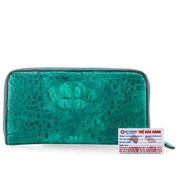 Ví nữ da cá sấu Huy Hoàng 1 khóa nguyên con màu xanh lá HH3718