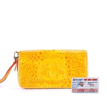 Ví nữ da cá sấu Huy Hoàng 2 khóa nguyên con màu vàng nghệ HH3294