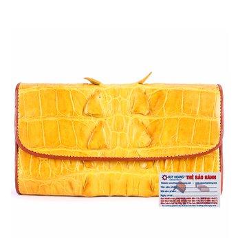 Ví nữ da cá sấu Huy Hoàng 3 gấp gai màu vàng nghệ HH3298