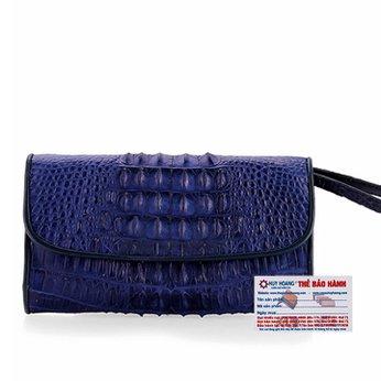 Ví nữ da cá sấu Huy Hoàng 3 gấp gai màu xanh đậm HH3713