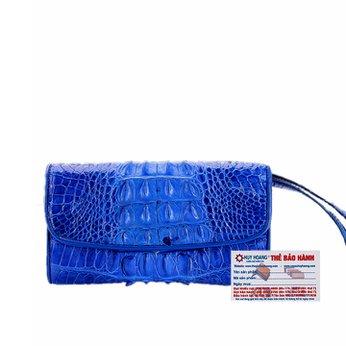 Ví nữ da cá sấu Huy Hoàng 3 gấp gai màu xanh dương HH3288