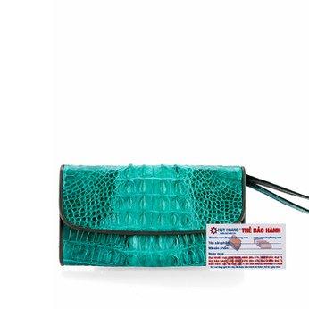 Ví nữ da cá sấu Huy Hoàng 3 gấp gai màu xanh lá HH3287