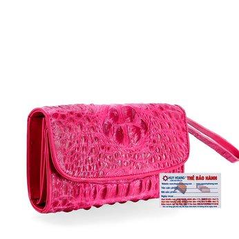 Ví nữ da cá sấu Huy Hoàng 3 gấp nguyên con màu hồng HH3721