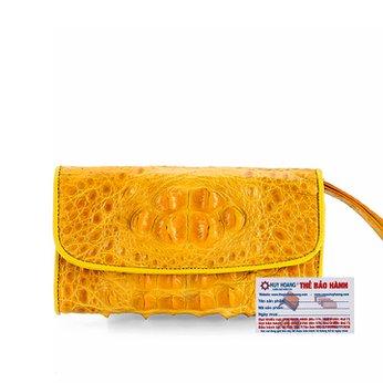Ví nữ da cá sấu Huy Hoàng 3 gấp nguyên con màu vàng nghệ HH3299